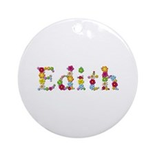 Edith Bright Flowers Round Ornament