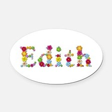Edith Bright Flowers Oval Car Magnet