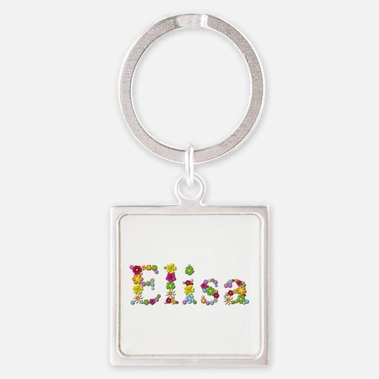 Elisa Bright Flowers Square Keychain