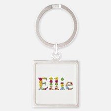 Ellie Bright Flowers Square Keychain