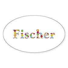Fischer Bright Flowers Oval Bumper Stickers