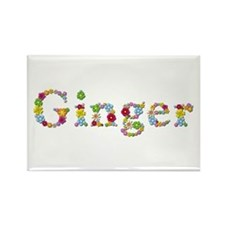 Ginger Bright Flowers Rectangle Magnet