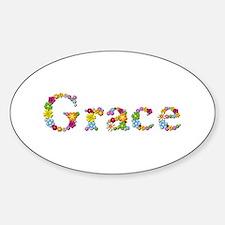 Grace Bright Flowers Oval Bumper Stickers