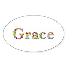 Grace Bright Flowers Oval Decal