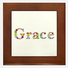 Grace Bright Flowers Framed Tile
