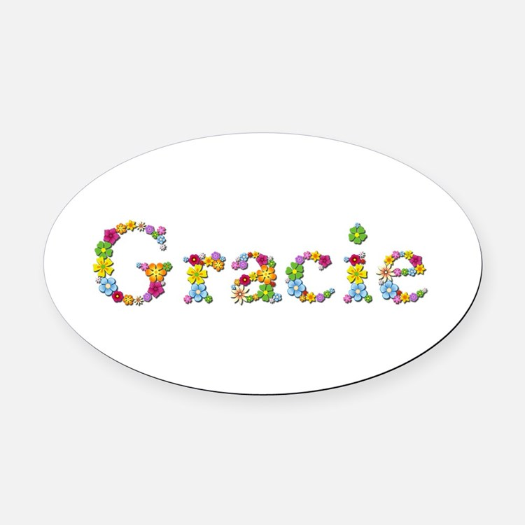 Gracie Bright Flowers Oval Car Magnet