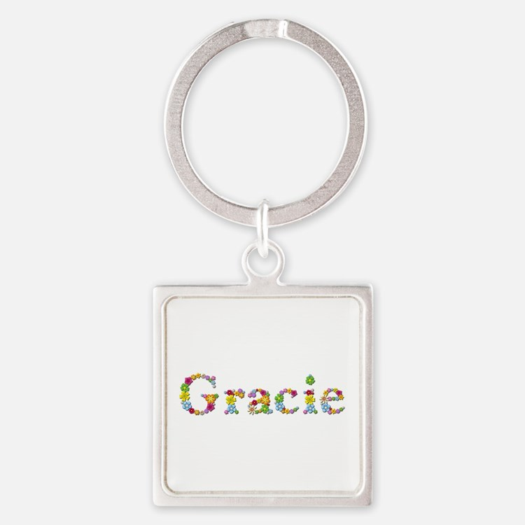 Gracie Bright Flowers Square Keychain