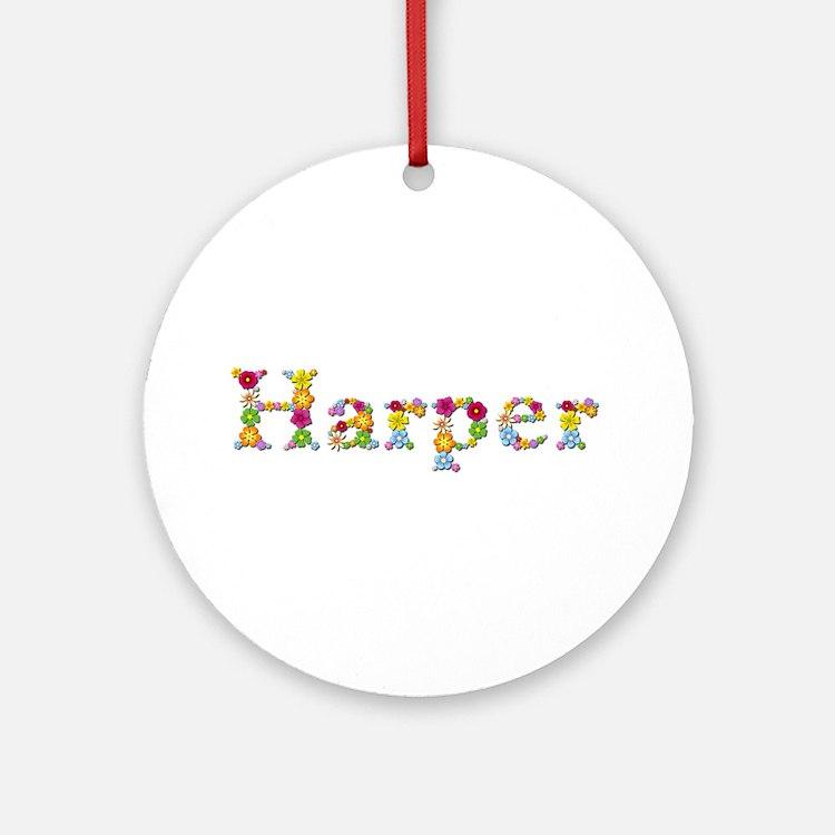 Harper Bright Flowers Round Ornament