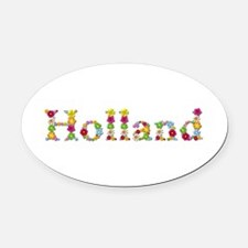 Holland Bright Flowers Oval Car Magnet