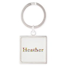 Heather Bright Flowers Square Keychain