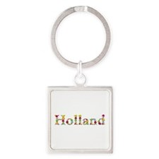 Holland Bright Flowers Square Keychain
