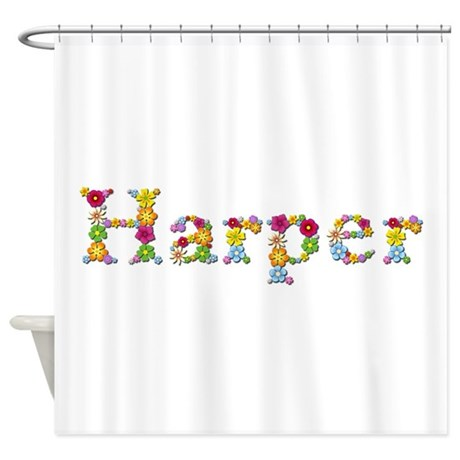 harper bright flowers shower curtain by namestuff