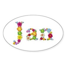 Jan Bright Flowers Oval Decal