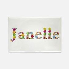 Janelle Bright Flowers Rectangle Magnet