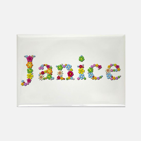 Janice Bright Flowers Rectangle Magnet
