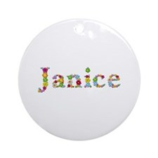 Janice Bright Flowers Round Ornament
