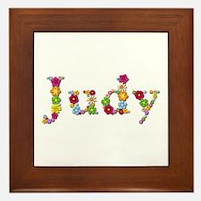 Judy Bright Flowers Framed Tile