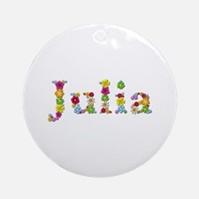 Julia Bright Flowers Round Ornament