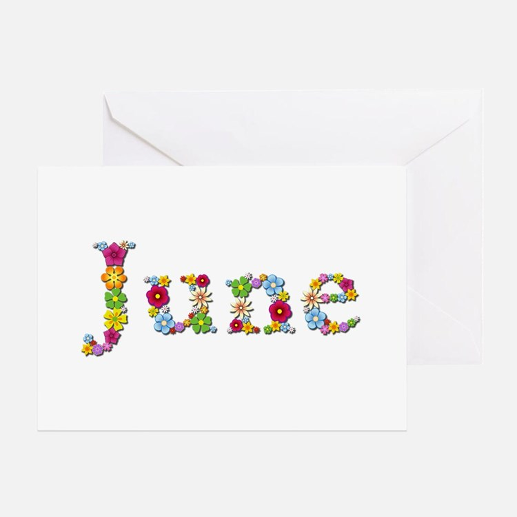 June Bright Flowers Greeting Card