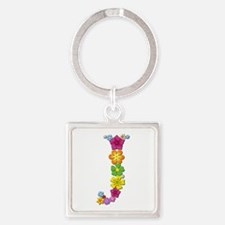 J Bright Flowers Square Keychain