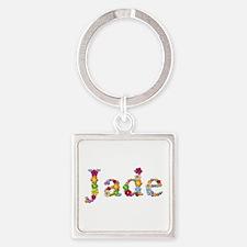 Jade Bright Flowers Square Keychain