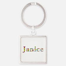 Janice Bright Flowers Square Keychain