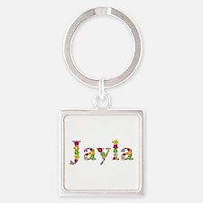 Jayla Bright Flowers Square Keychain