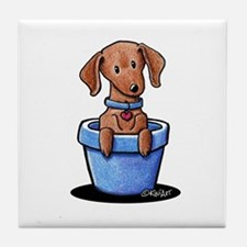 KiniArt Potted Doxie Tile Coaster