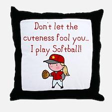 Softball Girl Throw Pillow