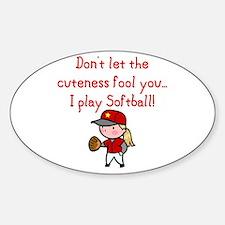 Softball Girl Oval Decal