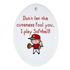 Softball Girl Oval Ornament