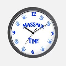 Massage Time Blue Wall Clock