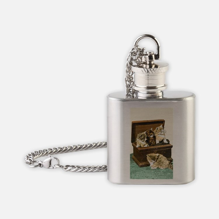 4 Cute Victorian kittens Flask Necklace