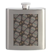 Sugar Skull Halloween  Black Flask