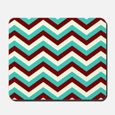 Turquoise  and Burgundy Chevrons Mousepad