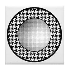 Black | White Houndstooth Pattern Tile Coaster