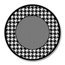 Black | White Houndstooth Pattern Round Car Magnet