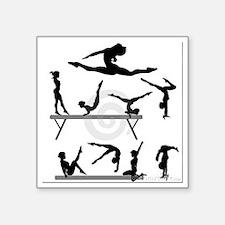 "The gymnast silhouette Square Sticker 3"" x 3"""