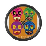 Life is short - Skulls Large Wall Clock