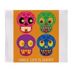 Life is short - Skulls Throw Blanket