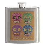 Life is short - Skulls Flask
