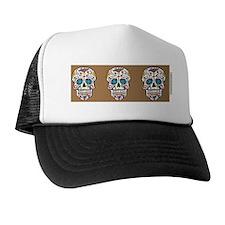 SugarSkull Halloween Khaki Trucker Hat