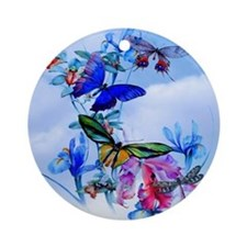 Shower Curtain Take Flight! Butterf Round Ornament