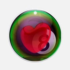 Eightball Heart Round Ornament