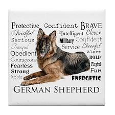 German Shepherd Traits Tile Coaster