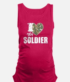 I Heart My Soldier Maternity Tank Top