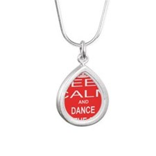 KEEP CALM and DANCE WITH Silver Teardrop Necklace