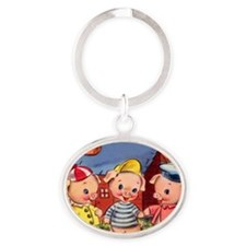 Cute Pigs Oval Keychain