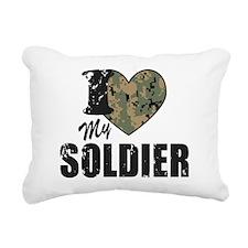 I Heart My Soldier Rectangular Canvas Pillow