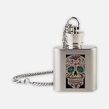 SugarSkull Halloween Black Flask Necklace